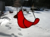 small red bird stained glass ornament