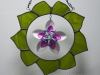 Mixed media - stained glass wreath with scale maille flower