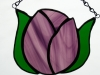 Single purple tulip stained glass suncatcher