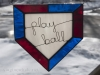 Stained glass home plate with wire words