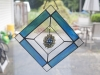 Mixed media - stained glass with chainmaille hanging pendant