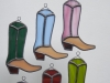 Stained glass riding boots ornament