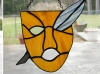 Shakespeare theater stained glass - mask and quill