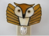 Brown flying owl stained glass nightlight