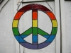 rainbow peace sign in stained glass