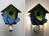 Stained glass blue bird nightlight on a green birdhouse. Pattern and photo by Amy J. Putnam - singingwhale.net.