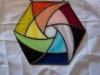 stained glass pinwheel rainbow