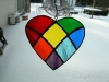 Stained glass rainbow/patchwork heart