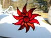 all red stained glass starburst pinwheel