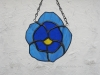 stained glass pansy in two shades of blue