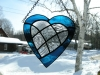 stained glass blue heart with inlaid clear patchwork heart