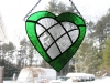 stained glass green heart with inlaid clear patchwork heart