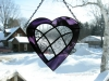 stained glass purple heart with inlaid clear patchwork heart