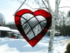 stained glass red heart with inlaid clear patchwork heart