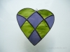 Simpler patchwwork heart in greee and purple
