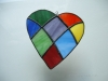 Simpler patchwork heart in randomly placed rainbow colors