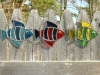 """Each fish measures 4.75"""" wide by 4"""" tall.  They can be made in just about any color combination and are $15 each (plus shipping)."""