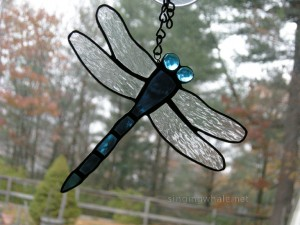 blue stained glass dragonfly