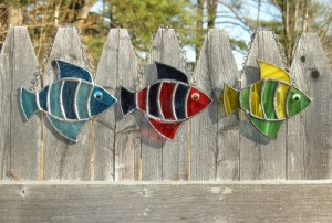 Stained glass striped fish in three different color selections