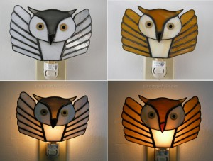 First two flying owl stained glass night lights, for a white/snowy owl and a brown owl.