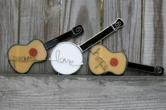 peace guitar, love banjo, hope guitar