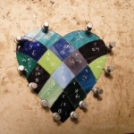 Stained glass heart in a patchwork pattern, made with cool colors