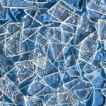 Shattered glass ceiling postcard - blue background