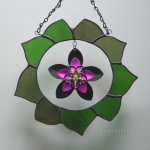 Stained glass wreath scale maille flower