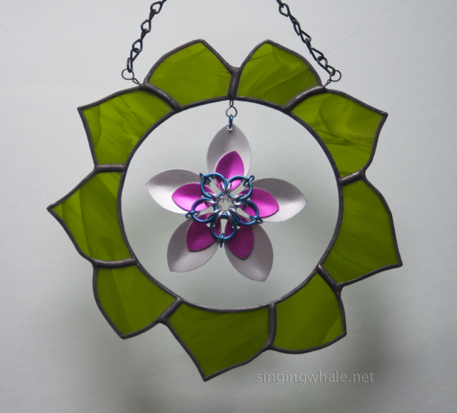 stained glass wreath with scale maille flower